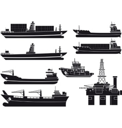Cargo vessels tugboat and oil platform vector