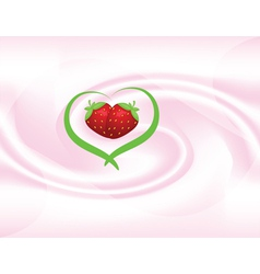 Yoghut with strawberries vector