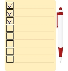 Checklist with red pen Icon vector image