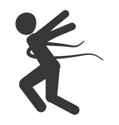 Person running into finish line silhouette vector