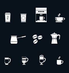 a set of white coffee flat style icons vector image