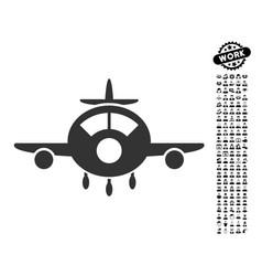 Aircraft icon with men bonus vector