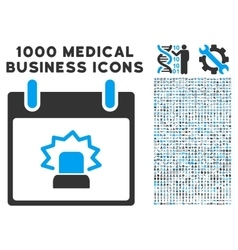 Alert calendar day icon with 1000 medical business vector