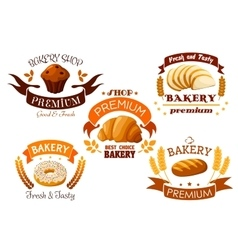 Bakery shop emblem with bread and sweet cakes vector