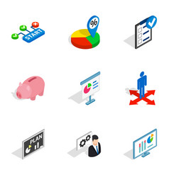 business analytics icons isometric 3d style vector image vector image