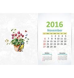 Calendar for 2016 November vector image vector image