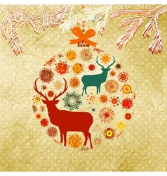 Christmas ornamental bauble card vector image