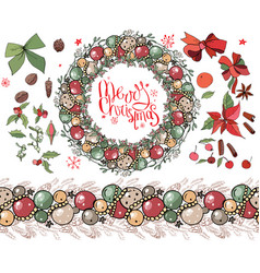 christmas set with festive elements winte vector image vector image