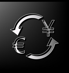 Currency exchange sign euro and japan yen vector