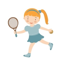 Cute little girl playing tennis vector image vector image