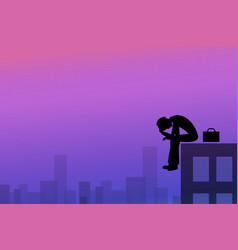 Depression background in silhouette style vector