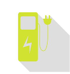 Electric car charging station sign pear icon with vector