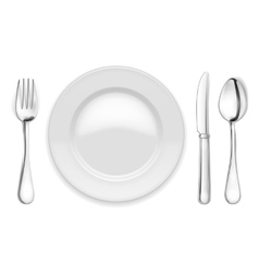 Empty plate spoon and fork vector