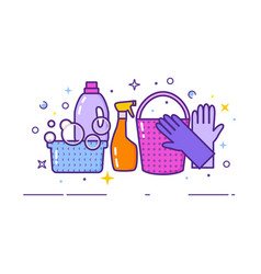 flat design logo for cleaning service vector image vector image