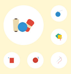 flat icons skein needlework knitting and other vector image