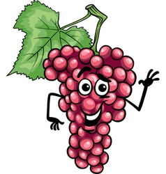 funny red grapes fruit cartoon vector image vector image