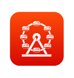 Giant ferris wheel icon digital red vector