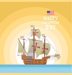 Happy columbus day national usa holiday greeting vector