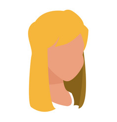 Head blonde girl character faceless icon vector