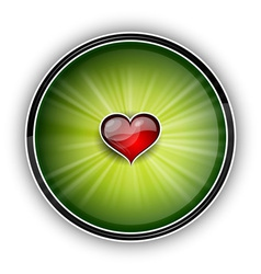 heart on the green background vector image vector image