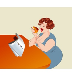 overweight woman vector image