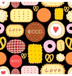 Seamless graphic pattern with delicious cookies vector