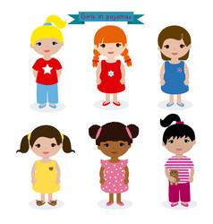 Set girls in pajamas vector