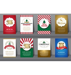 Set of Christmas brochures in vintage style vector image vector image