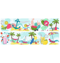 summer holidays vacation horisontal poster set for vector image vector image