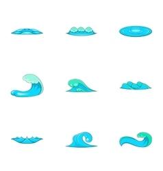 Tide icons set cartoon style vector