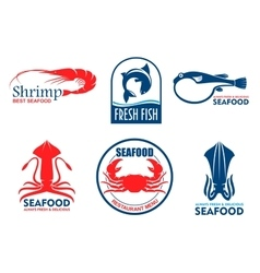 Seafood and fish products icons vector