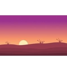 At sunrise hill landscape silhouette vector