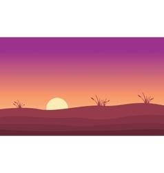 At sunrise hill landscape silhouette vector image