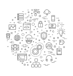 Outline web icons set - programming vector
