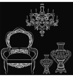 Exquisite fabulous imperial baroque furniture vector