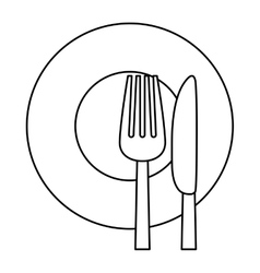 figure knife fork and plate icon vector image