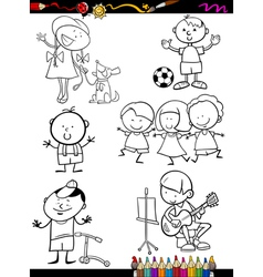 Children set cartoon coloring page vector
