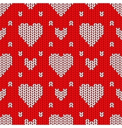Bright valentines day knitted seamless pattern vector