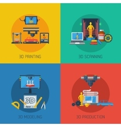 3d printing flat icons square composition vector