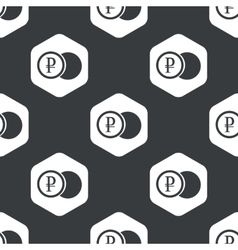 Black hexagon ruble coin pattern vector