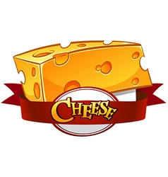 Cheese with text in banner vector