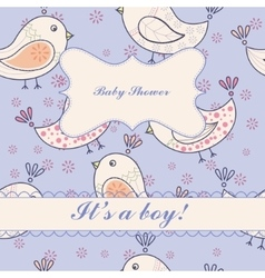 Vintage birdsbaby shower boy vector image