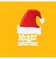 Red santa hat  merry christmas card vector