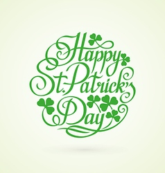 Stpatrick day circle lettering on white background vector