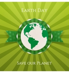 Earth day realistic circle paper banner vector