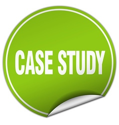 Case study round green sticker isolated on white vector
