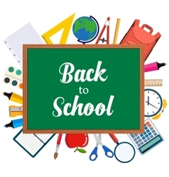 Back to school background with school objects vector image