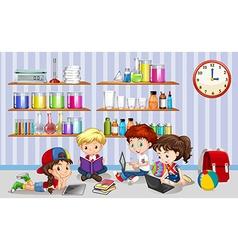 Children working on computers in classroom vector