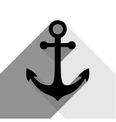 anchor icon black icon with two flat gray vector image vector image