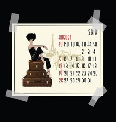 august calendar with fashion girl vector image